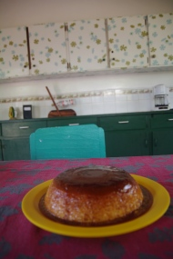 Our 2nd attempt at baking caramel flan in Nica.