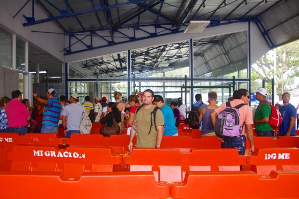 Lining up at the Costa Rican Customs and Immigration building.