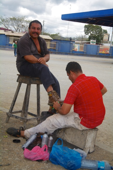 Shoe shine at the Nicaraguan border.